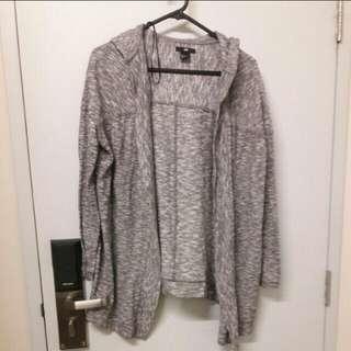 H&M Hooded Lightly Knit Grey Cardigan