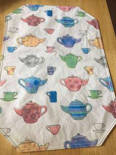 Placemat-tea kettles and mugs/cups