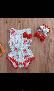 Baby girl kid romper headband flower set infant toddler