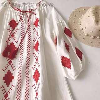復古波希米亞風棉麻連衣裙