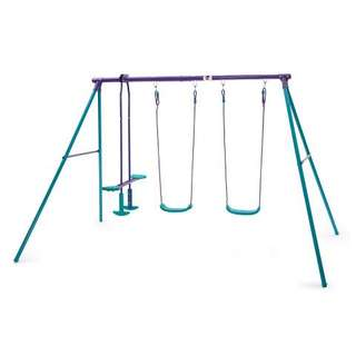 Plum outdoor metal swing with glider