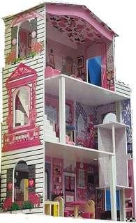 Wooden barbie dollhouse doll house