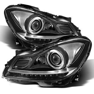 MERCEDES BENZ W204 C63 C-CLASS AMG CHROME LED DRL PROJECTOR HEADLIGHTS