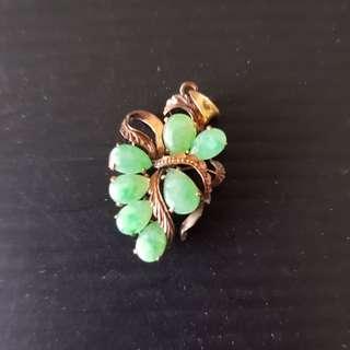 Old China Jade Pendant 14K Gold