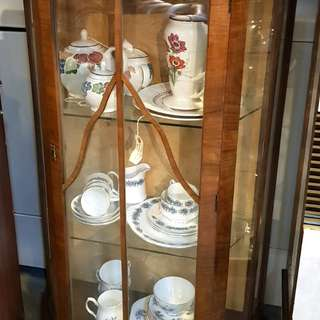 Vintage Bow front display cabinet from England