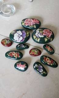 Handmade - decoupage art stones - paper weights or decoration