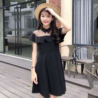 【貝莉潮流】春夏女裝韓版氣質網紗拼接中長款露肩短洋裝