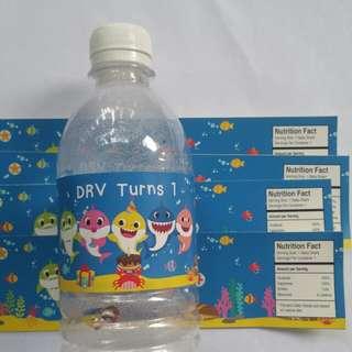 $8 Water Bottle Label Baby Shark