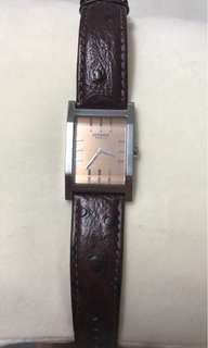 100% AUTH Hermes TA1.170 Circa 2000 Watch with DeBeer Paris Hand Crafted Ostrich Band