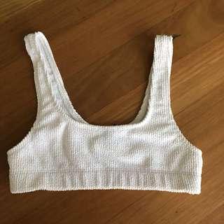 White Ribbed Bikini Crop Top