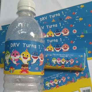 $13 Water Bottle Label and Sticker Combo Set Baby Shark