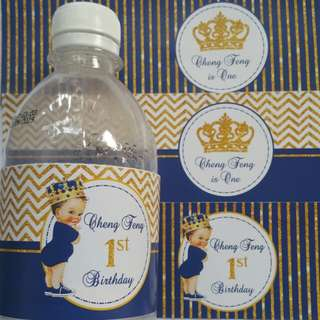 $8 Baby Prince Water Bottle Label