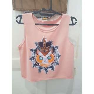 Owl pink top