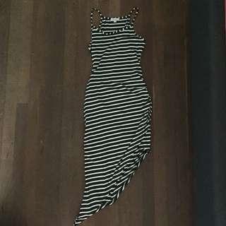 Mink striped ruffled side maxi dress M