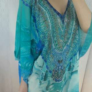 Blue embellished kaftan camilla franks style free size