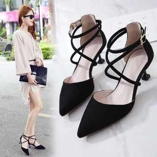 Korean Black Suede Sexy Heels Shoes