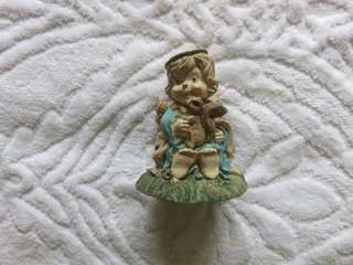 Angel Figurine with Squirrel Figurines