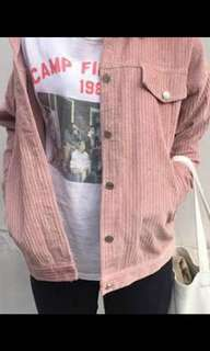Pink vintage oversized corduroy jacket button up