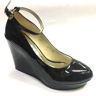 Patent Wedge Ankle Strap Shoes
