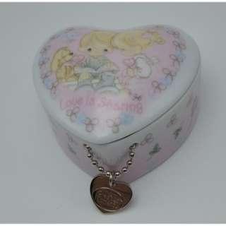 2006 Precious Moments Trinket Box Ceramic Heart Shape Trink