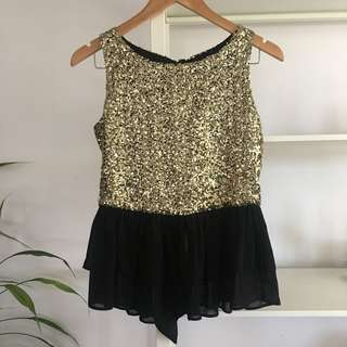 BRAND NEW Gold Sequin Peplum Top