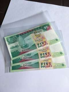 Spore Ship Series $5 Banknotes x 3 Run