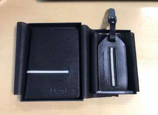 Bally inspired matching passport cover and luggage tag - brand new and in individual gift boxes