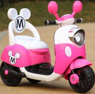Pink Mickey Mouse Scooter Rechargeable Motorcycle Toy Tricycle