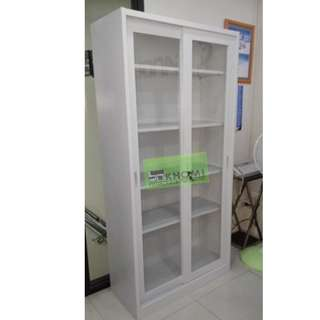 5 layer glass sliding cabinet - office furniture