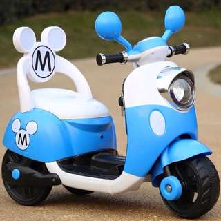 Blue Mickey Mouse Scooter Rechargeable Motorcycle Toy Tricycle