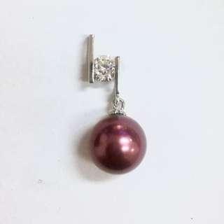 Purple pearl drop diamanté fashion pendant