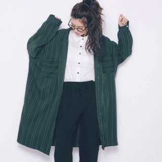 墨綠條紋襯衫外套