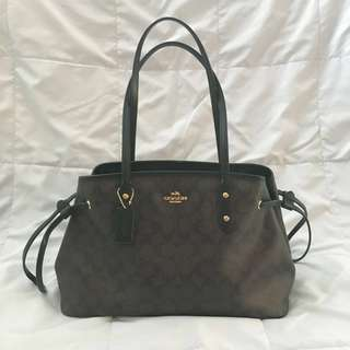 (USED) COACH Signature PVC Drawstring Carryall - brown black