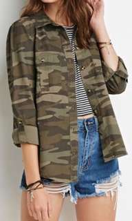 Denim Co. Camouflage Button Down Top