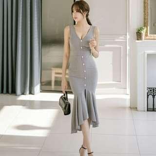 Summer Fashion Low V Neck Plaid Fishtail Dresses