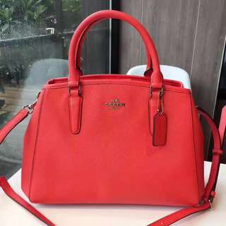 Coach Small Margot Carryall in Crossgrain leather- red