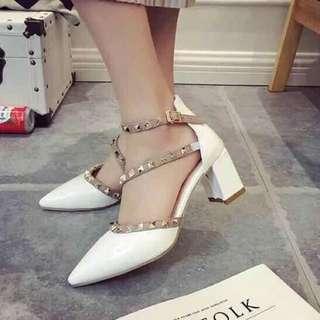 Korean Fashion White Rockstud Assymetrical Straps Shoes