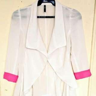 White with pink blazer