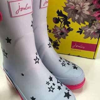 🚚 Joules淺藍星星女孩雨靴uk3