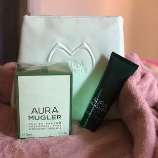 ***Brand new AURA MUGLER Eau de Parfum with a make up bag and 50ml shower milk.***