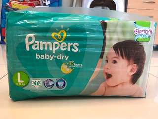 BN Pampers Baby Dry Diapers L size