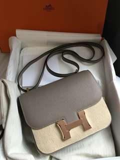 Hermes 19cm Constance M8 灰 玫瑰金釦Epsom皮A刻