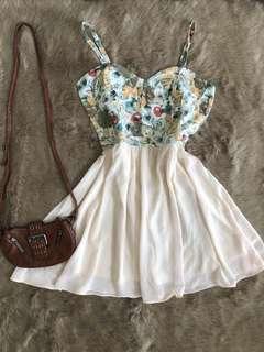 floral denim bustier dress