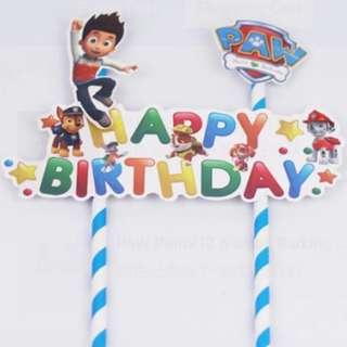 Paw patrol happy birthday cake topper