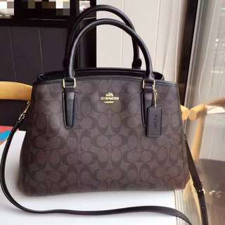 Coach Small Margot Carryall- monogram dark brown