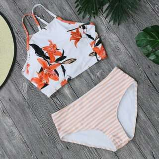 Anna  Floral   Crop Top Two Piece Swimsuit Orange - TP011BE