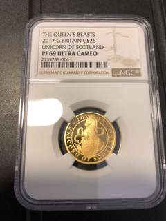 Queen beast unicorn 1/4 gold proof NGC PF69
