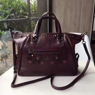 Coach Willow Floral Primrose Satchel - dark maroon