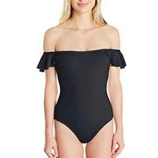 Bubbles Bandeau Off Shoulder One Piece Swimsuit  Black - OP002BK
