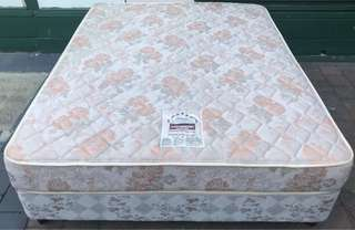 Excellent queen bed base + mattress. Pick up or deliver
